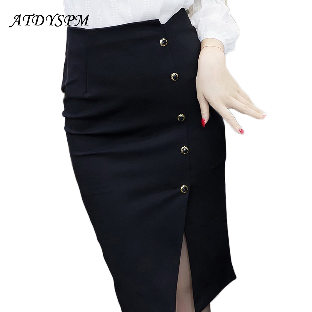 New Fashion Women Pencil Kjol High Waist Sexiga Split Slim Midi Kjolar Stretch Breasted Office OL Kjolar Plus Size Casual Kjolar
