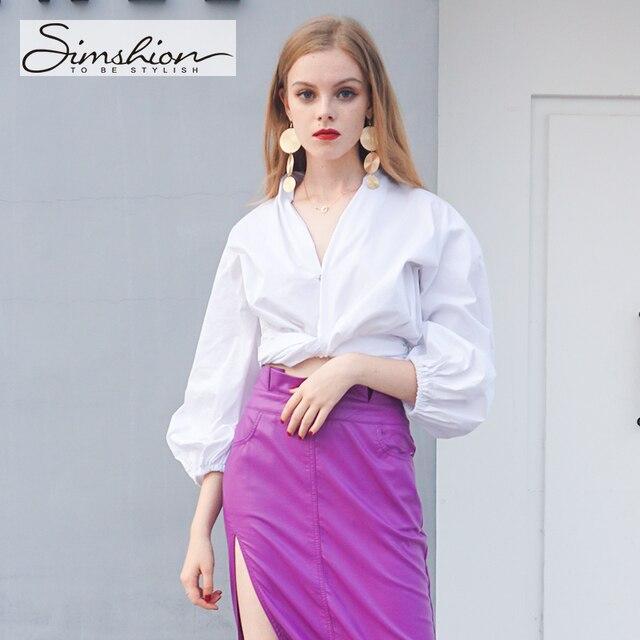 Marszczenia Simshion Kobiety Mody Bluzka Koszule Długi Rękaw Latarnia Dorywczo V-neck Panie Koszule Czarny Niebieski Biały Rozmiar S M