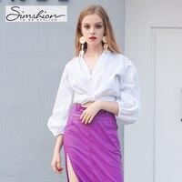 Simshion Women Fashion Shirring Blouse Shirts Long Lantern Sleeve Casual V Neck Ladies Shirts Black Blue