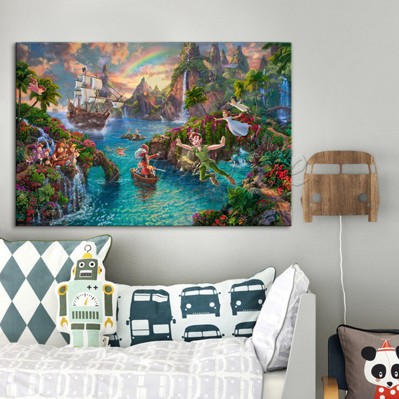 Thomas Kinkade Peter Pan Pictures Canvas Print Painting