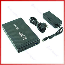 Черный Прочная Алюминиевая коробка 3.5 Дюймов USB 3.0 SATA Жесткий Диск Внешний box + AC Адаптер Питания + AC Шнур питания