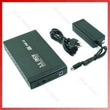 Black Solid Aluminum box 3 5 Inch USB 3 0 SATA Hard font b Disk b