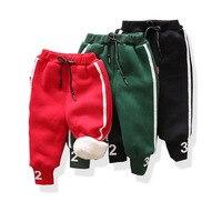 Повседневное спортивные детские теплые зимние для маленьких мальчиков Roupas Младенцы бархат Плотные брюки длинные брюки Pantalones