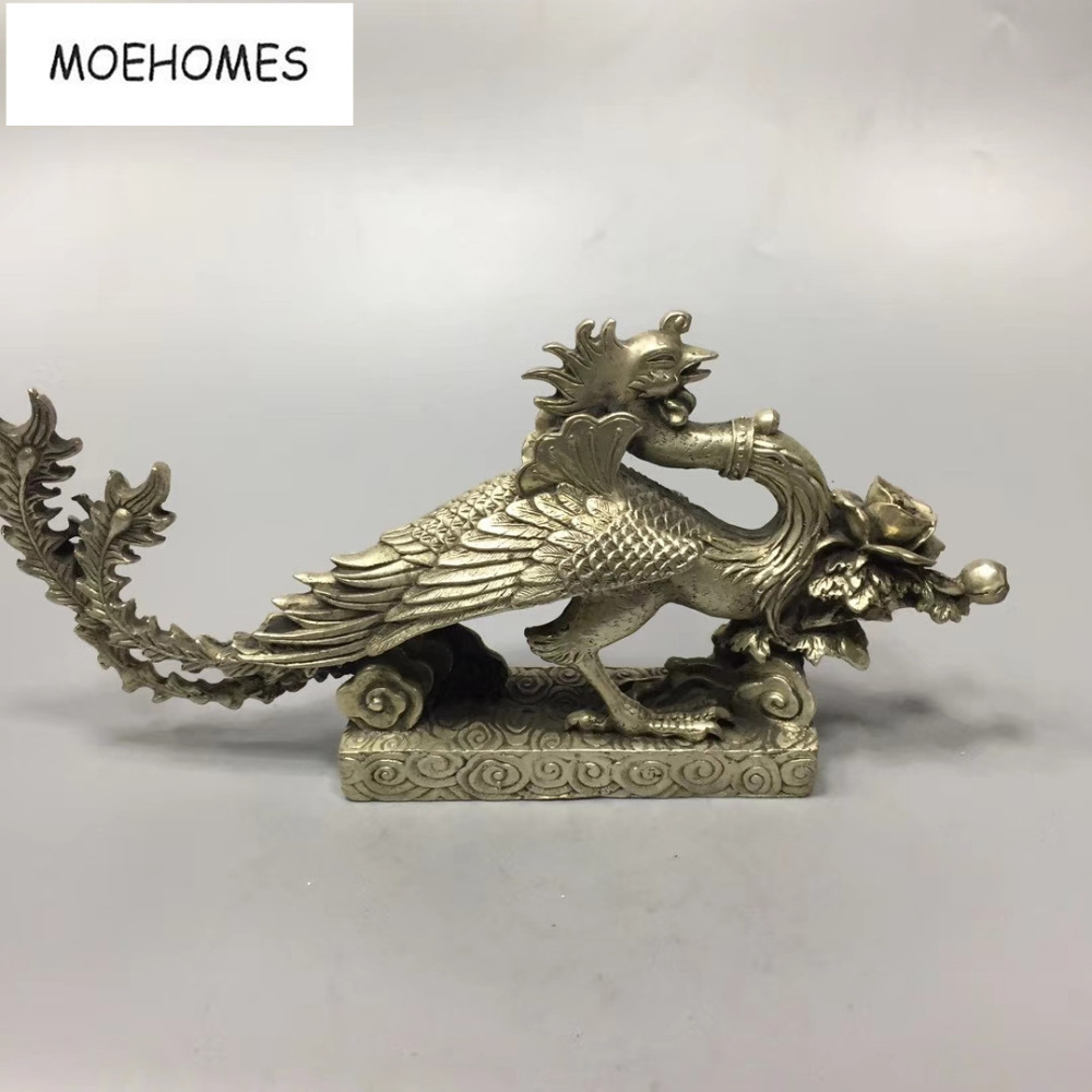MOEHOMES China Tibet Silver Ancient fengshui copper Statue-Peacock king Daming metal crafts home decorationMOEHOMES China Tibet Silver Ancient fengshui copper Statue-Peacock king Daming metal crafts home decoration