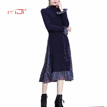 Fake Two Knitted Dresses Chiffon Dress Long Sleeve Vintage Dresses 2018 Hem Floral Dress Hot Sale Flare Sleeves Robe Femme
