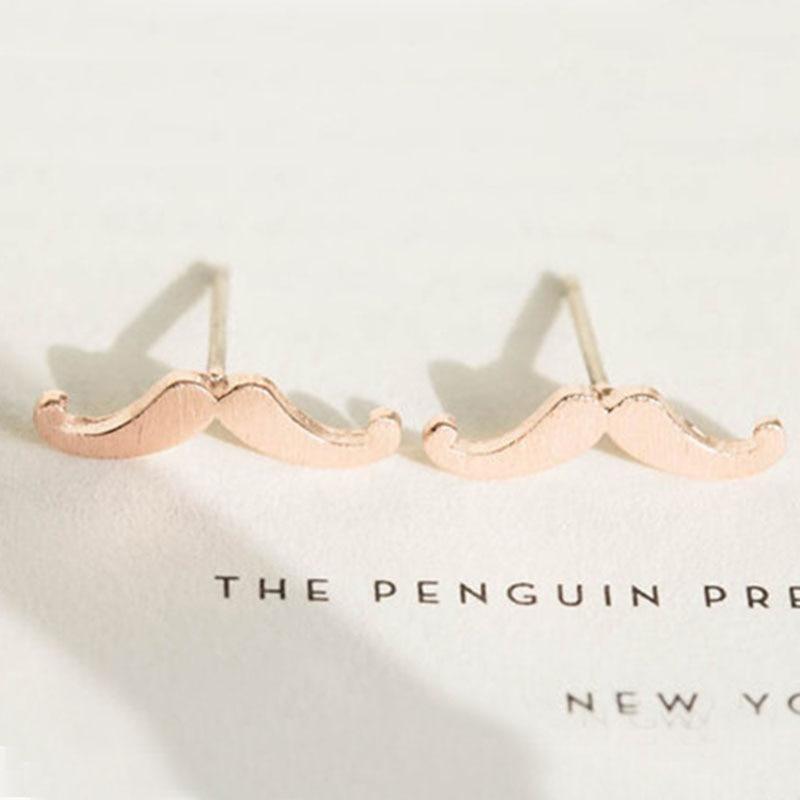 ✓Al por mayor 10 pairs moda lindo bigote Stud plata oro color ...