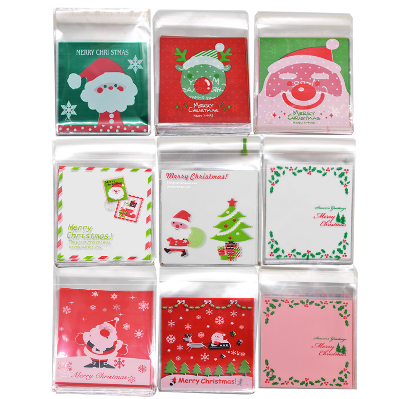 50pcs 10x10cm Christmas Cookie Candy Package Gift Bags Santa Deer Snowman Print Adhesive OPP Bag Xmas Home Party Baking Supplies