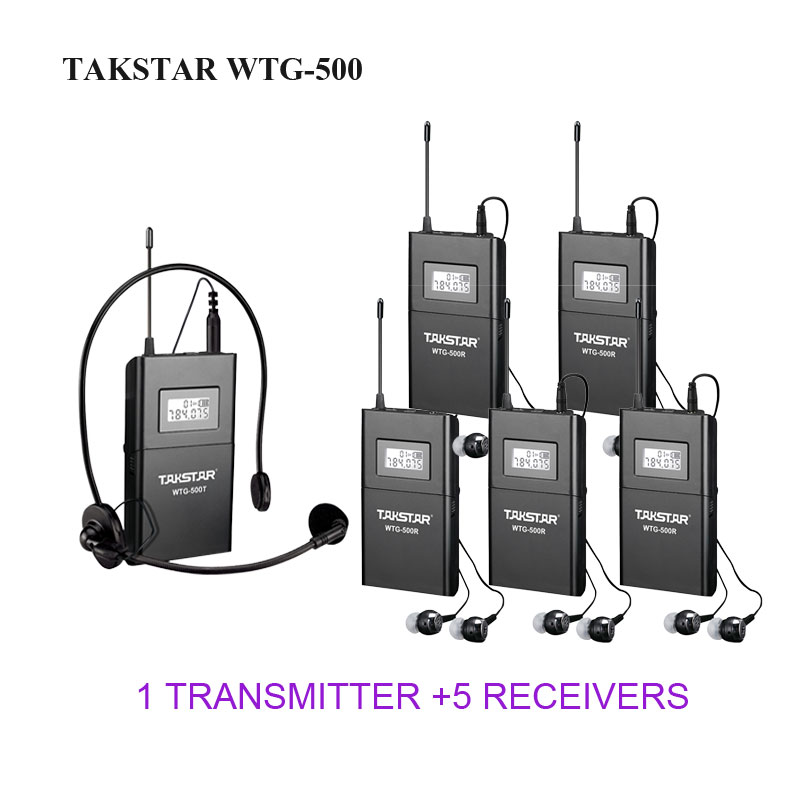 Takstar WTG-500/WTG 500 UHF Wireless Acoustic Transmission System for tour guiding ect. 1 Transmitter+1 Headworn mic+5 Receivers 2 receivers 60 buzzers wireless restaurant buzzer caller table call calling button waiter pager system