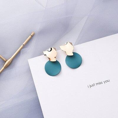 AOMU coréen bleu géométrique acrylique irrégulière cercle creux carré balancent des boucles d'oreilles pour les femmes en métal bosse fête plage bijoux 20
