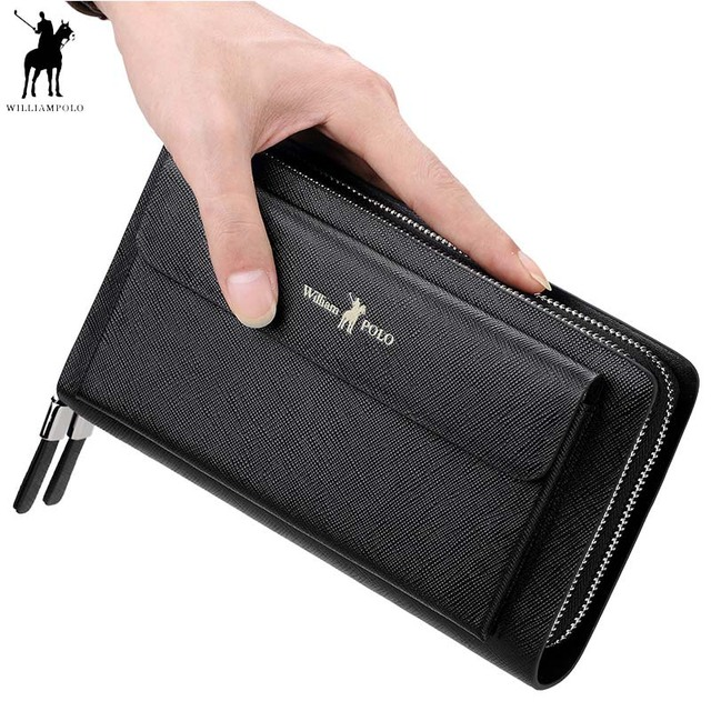 2f7a43afcf743 2018 New WILLIAMPOLO Men Clutch Bag Wallet Genuine Leather Strap Flap  Clutches with 21 Card Holder Elegant Handy Wallet For Male