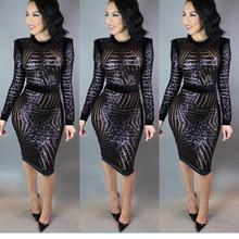 S L Knee Length Women Clothing Black Long Sleeve Sequin Bodycon font b Dress b font