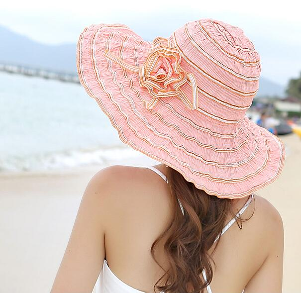 Summer Womens Sunscreen Hat Female Summer Sun Hat Anti-uv Beach Cap Folding Large Brim Hat Adjustable