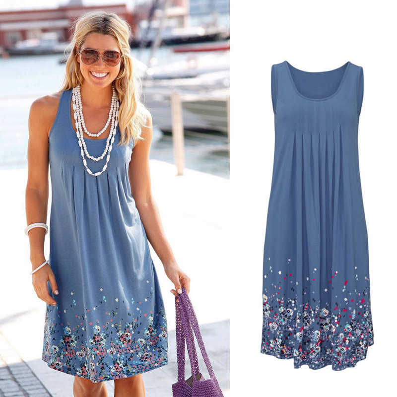 Summer Sleeveless Floral Print Loose <font><b>Dress</b></font> Six Colors Casual Women <font><b>Dress</b></font> Robe Femme Ete 2019 <font><b>Sexy</b></font> <font><b>Dress</b></font> <font><b>Plus</b></font> <font><b>Size</b></font> S-5XL Sundress image