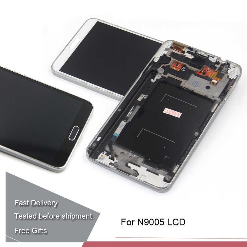 ملاحظة 3 N9005 شاشة إل سي دي باللمس الجمعية الشاشة مع الإطار لسامسونج غالاكسي ملاحظة 3 N9005 LCD شاشة قطع غيار محول رقمي