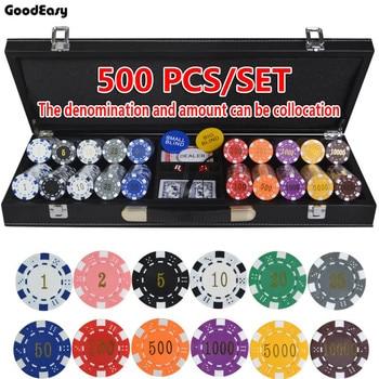 200~500pcs/set  ABS Gilding Poker Chips set Coins Texas Hold'em Poker Games Chips Sets with Leather case 12 colors 11.5g/pcs