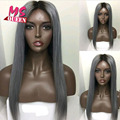 Hot sale natural straight synthetic lace front wig with baby hair for black women two tone color black grey ombre lace front wig