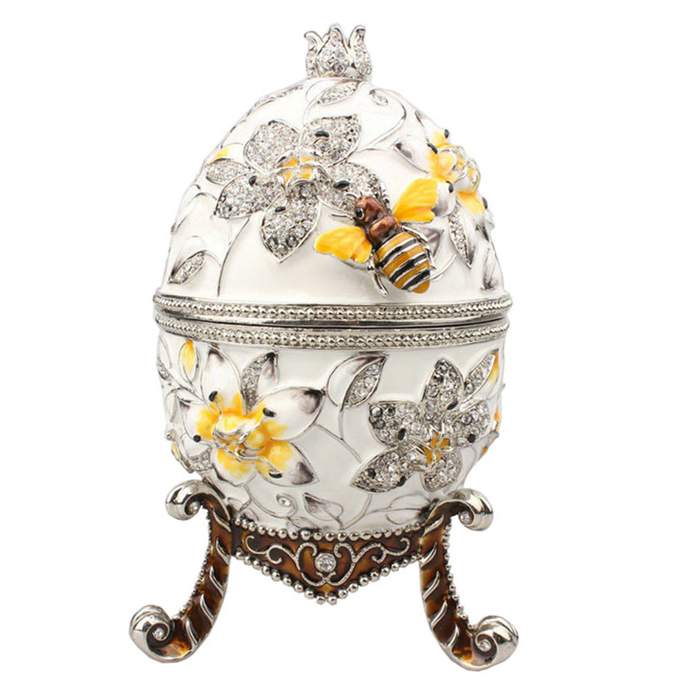 Big Faberge egg with bee jewerly trinket box Russian craft metal ring box bejeweled bling jewelry