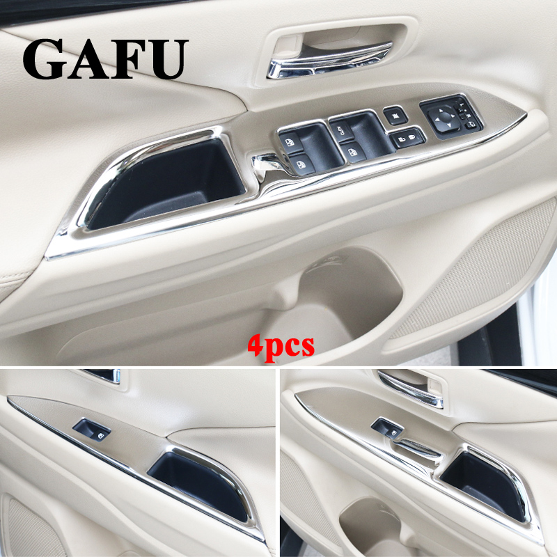 Stainless Steel Window Lift Switch Armrest Cover Trims For Mitsubishi Outlander 2013 2016 2018 Auto Accessories Styling 4Pcs new arrival for lexus rx200t rx450h 2016 2pcs stainless steel chrome rear window sill decorative trims