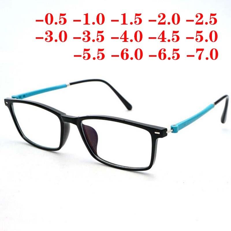 Homens Mulheres Squared TR90 Computador Óculos de Prescrição Óptica Acabados Óculos de Miopia-0.5-1-1.5-2- 3-4-5-5.5-6-6.5-7
