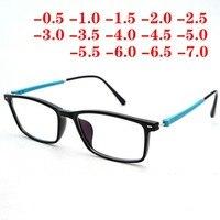 TR90 Для мужчин Для женщин квадрат компьютерные очки с диоптриями готовой близорукость очки-0,5-1,0-1,5-2,0-3,0-5,0-6,5-7,0
