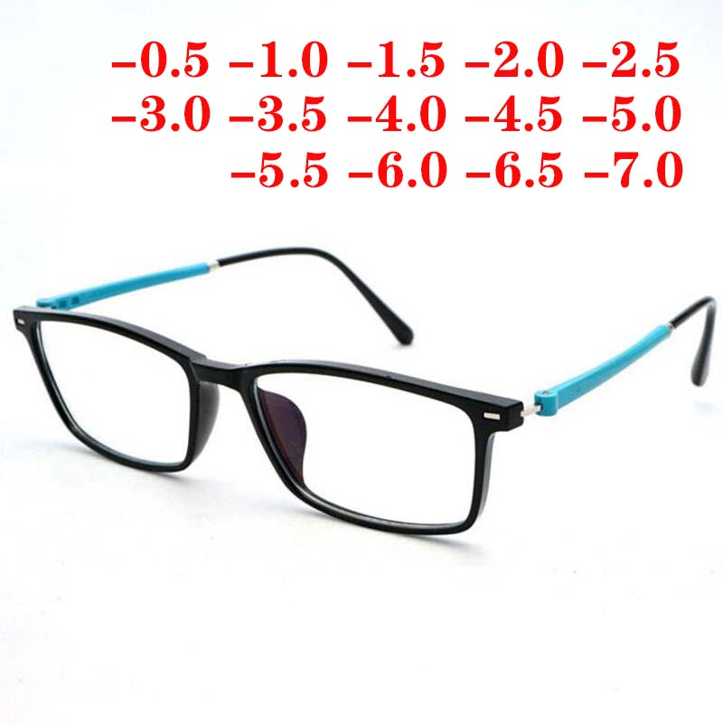 TR90 Men Women Squared Computer Glasses Anti-blue Light Prescription Finished Myopia Eyewear -0.5 -1 -1.5 -2 -3 -4 -5 -6 -6.5 -7