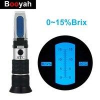 Hand Brix Refraktometer 0 ~ 15% Optische Zucker Lebensmittel Getränke ATC Inhalt Tester Obst Gemüse Saft Tragbare Meter Werkzeug