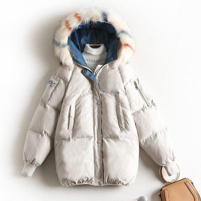 Space Cotton Coat Women Winter Parka Plus Size Thick Warm Fashion Outwear with Fur Cap 8604