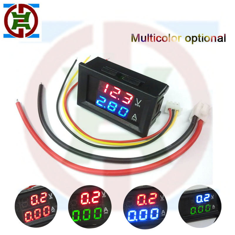 "YDT DC 100V 1A 10A 50A 100A Mini Digital Voltmeter Ammeter Current Voltage Meter Tester 0.28"" Blue Red Dual Color LED Display"