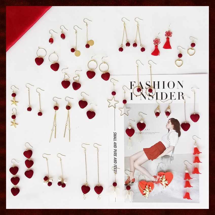 Moda Kadınlar Takı Şarap Kırmızı Akın Kış Kalp Küpe Avrupa ve Amerika Birleşik Devletleri Saf El Yapımı Küpe Püskül Uzun