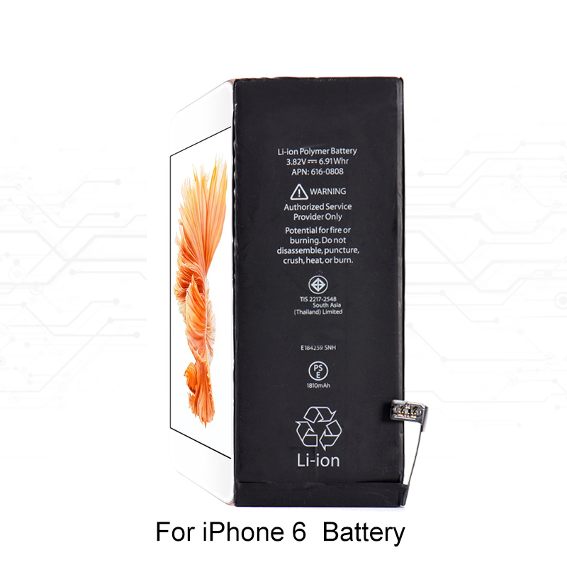 1810MAH 3.82V Built-in Lithium Battery For iPhone 6 i6 Internal Replacement Battery for iPhone6 A1549 A1586 A1589 Devices