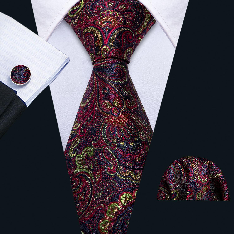 Barry.Wang Silk Ties For Men Red Tie Floral Paisley Neck Tie Set Handkerchief Cufflinks Designer For Male Suit Men Gift FA-5156