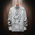 2018 New Fashion Autumn Winter Kintting Pullover Mens Sweater Cashmere Casual Striped Turtleneck Sweater Men Plus Size M-5XL