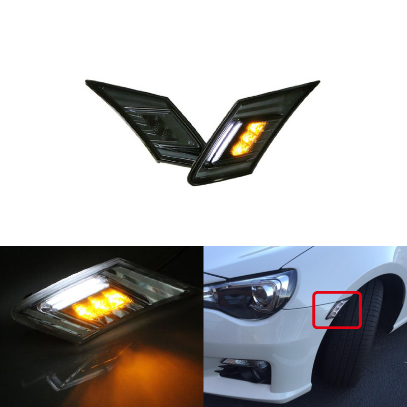White/Amber Led Running Light W/Turn Signal Blinkers Lights For Toyota 86 17-Up For Scion FR-S 13-16 For Subaru BRZ Car-stylingWhite/Amber Led Running Light W/Turn Signal Blinkers Lights For Toyota 86 17-Up For Scion FR-S 13-16 For Subaru BRZ Car-styling