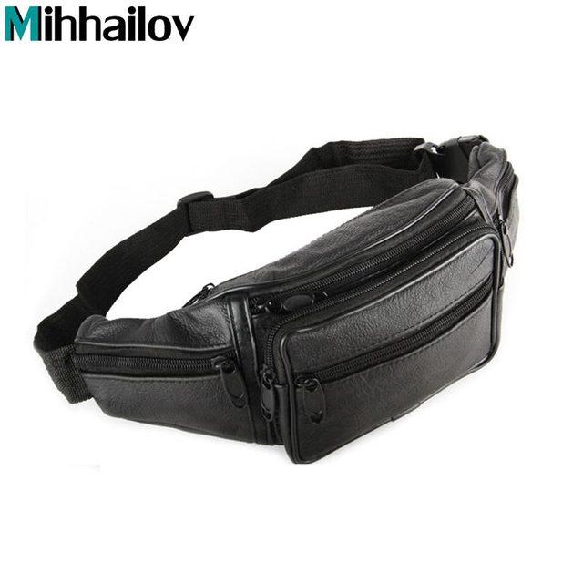 2019 Men Travel Bags Mens Leather Belt Bag Waist Pack Men Waist Bag Leather  Waist Pochetes Homem Bolso Cintura KY-44