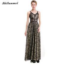 2017 Women Embroidery Summer Dresses Black Net Yarn Lace Off Shoulder Cami Dress V-neck Floor-Length Empire Slim Party Dress