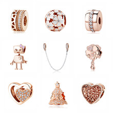 afe4d54d3 Original 100% 925 Sterling Silver Charm Bead Family Christmas Charms Clip Pendant  Rose Gold Fit Pandora Bracelets Women Jewelry