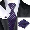 SN-799 Midnightblue Hotpink Polka Dot Violeta Tie Hanky Abotoaduras Define 100% Gravatas De Seda dos homens para homens Casamento Formal Do Partido noivo