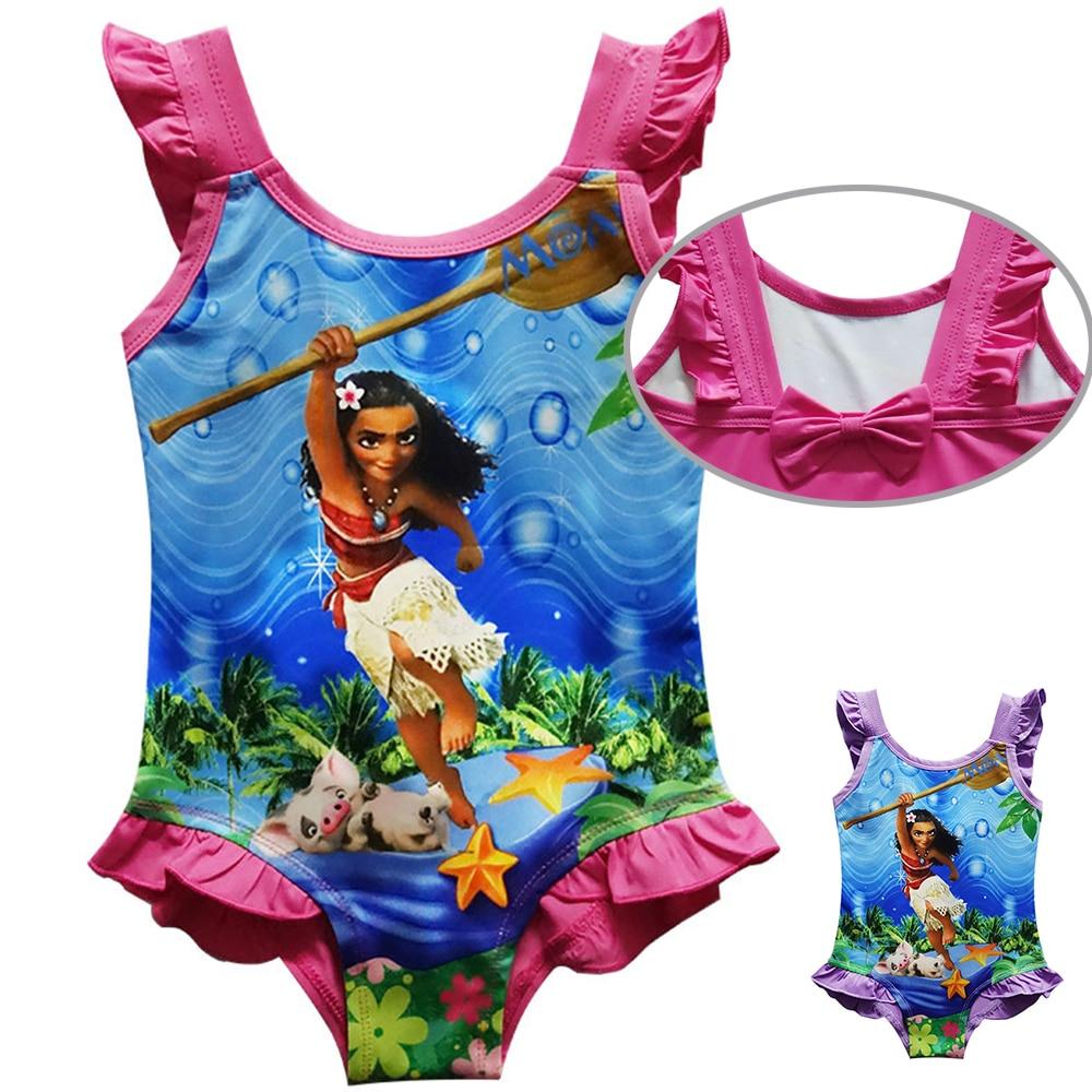 2018 New Moana Cartoon princess Swimsuit kids Swimwear Summer Beach  dress shirt  Girls Bikini costume