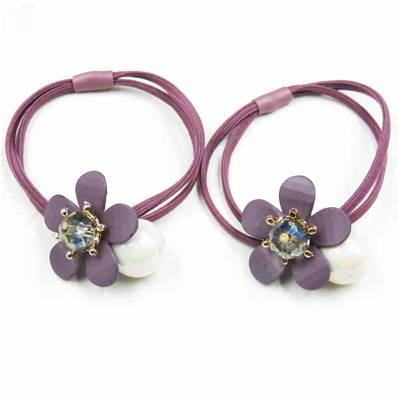 1PCS Pyrple Flower beads Elastic Hair Bands For Girls Bohemian Headband Scrunchy Korean Fashion Kids Hair Accessories For Women