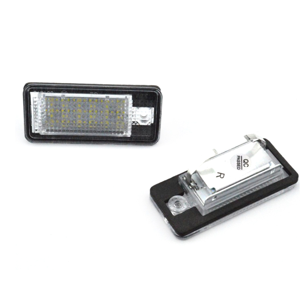 2Pcs 18 LED 3528 SMD License Plate Lights Lamps Bulbs for <font><b>AUDI</b></font> A3 8P <font><b>A6</b></font> 4F White image