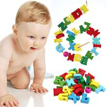 Stringing Threading Beads DIY font b Toys b font for Child Wooden Letters Cartoon Animals Block