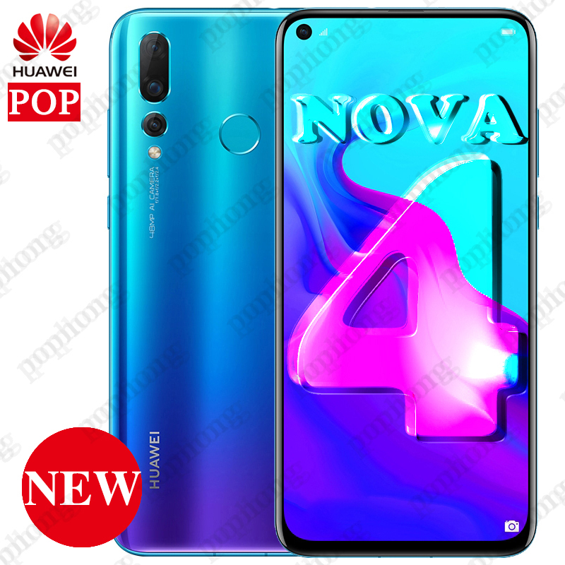 Original HUAWEI NOVA 4 LTE Cell Phone 6.4 Inch 6GB 128GB Kirin 970 Octa Core Android 9.0 Fingerprint 4*Cameras