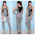 Summer elegant style jumpsuits sexy round collar sleeveless gray with printed letters jumpsuits