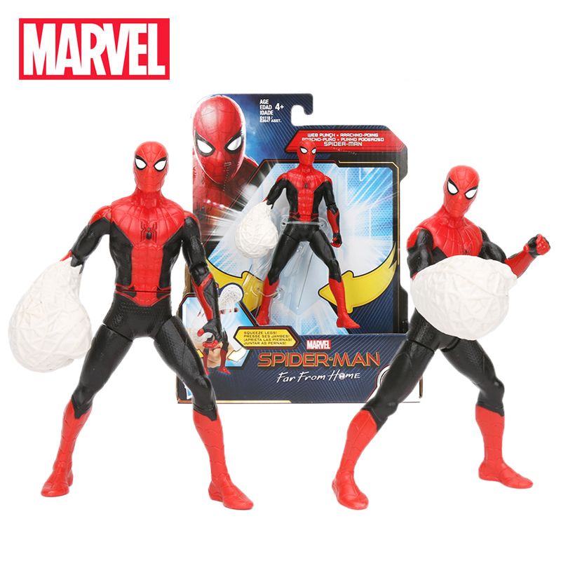 2019 14.5cm Marvel Toys Spider-man Far From Home WEB PUNCH PVC Action Figure Black Spiderman Peter Parker Collectible Model Doll(China)