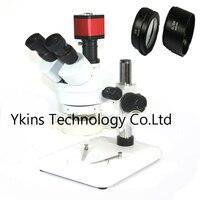3.5X 90X Simul Focal Trinocular Stereo Microscope + 13MP VGA /HDMI digital microscope camera With SZM0.5X SZM2.0X Objective lens