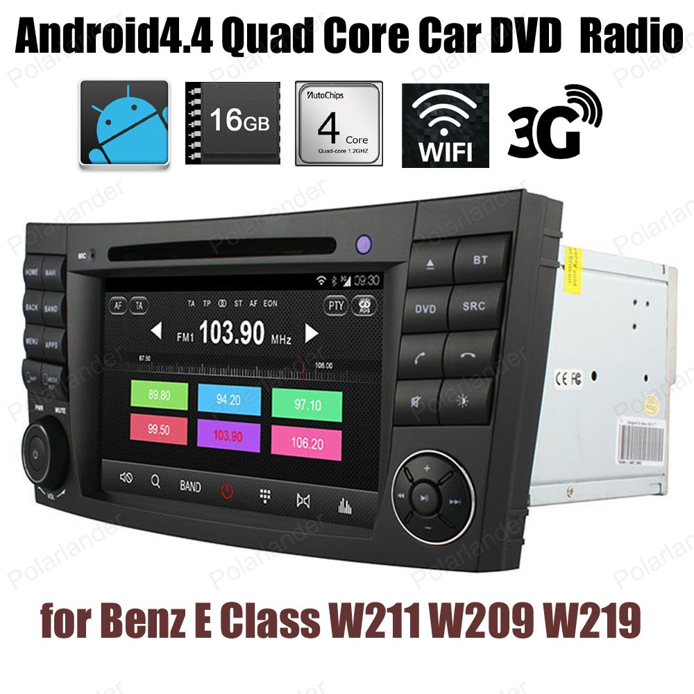 Quad Core Android4.4 Car DVD Support DTV BT 3G WiFi GPS DAB+ TPMS touch screen FM AM radio For Benz E Class W211 W209 W219