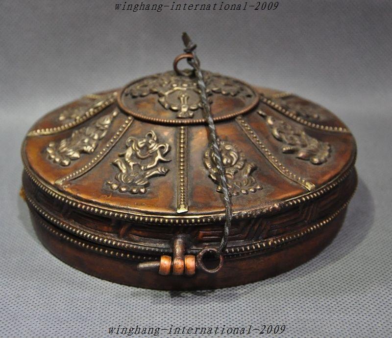 De noël Vieux Tibet Bouddhisme Bronze Doré 8 trésor Prier prière Hochets Prier Bells Set halloween