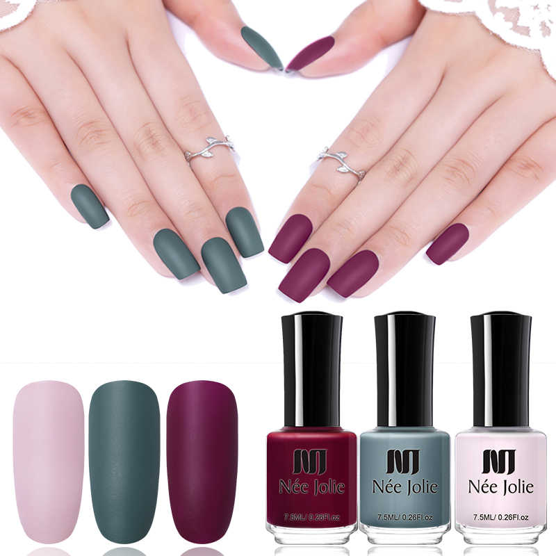 NEE JOLIE Matte Nail Polish 12 Colors 7.5/3.5ml Long Lasting Nail Art Varnish Quick Dry 6 Colors Holographic Effect Nail Lacquer