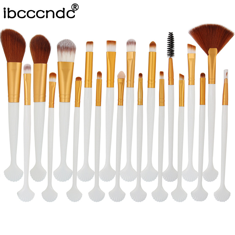 Fan Concealer Makeup-Brushes-Set Beauty-Shell Eye-Shadow Cosmetic-Eyes Brow 20pcs New