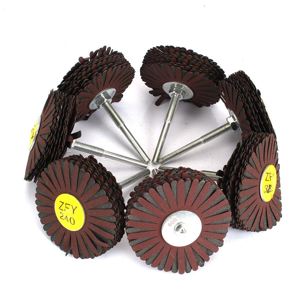 80*6mm Shaft Mounted Sanding Cloth Wire Grinding Wheel Radial Polishing Brush For Wood Irregular Surface Finish